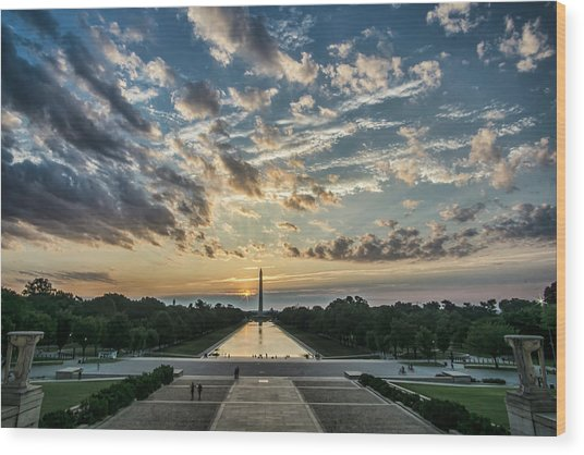 Sunrise From The Steps Of The Lincoln Memorial In Washington, Dc  Wood Print