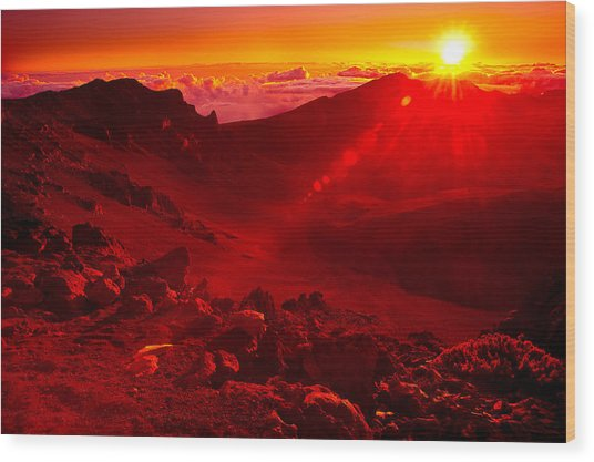 Sunrise Haleakala Wood Print