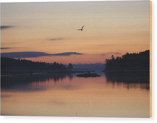 Sunrise In Blue Hill V Wood Print