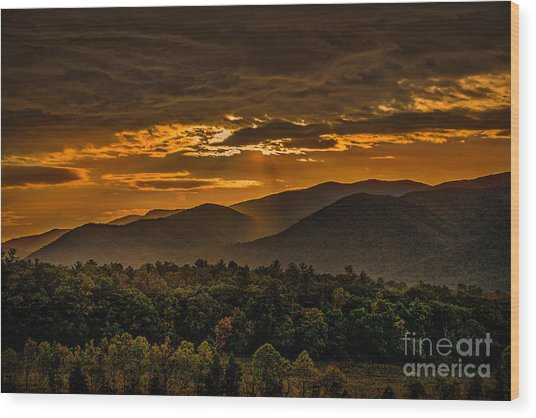 Wood Print featuring the photograph Sunrise In Cades Cove Great Smoky Mountains Tennessee by T Lowry Wilson