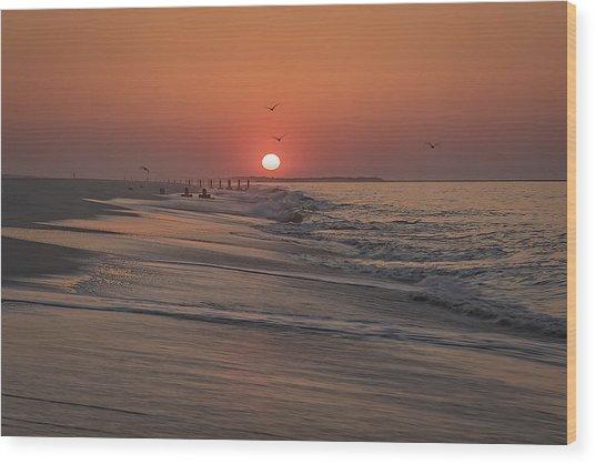 Sunrise In Cape May Wood Print