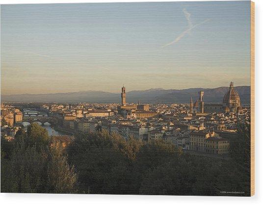 Sunrise In Florence Wood Print by Luigi Barbano BARBANO LLC