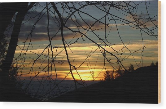 Sunrise In Fracture Wood Print