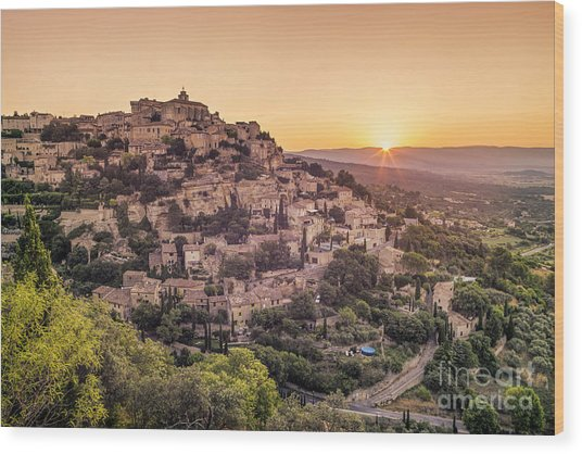 Wood Print featuring the photograph Sunrise In Gordes Provence  by Juergen Held