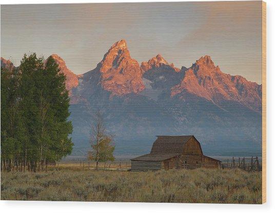 Sunrise In Jackson Hole Wood Print