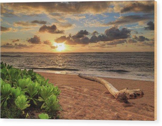 Sunrise In Kapaa Wood Print