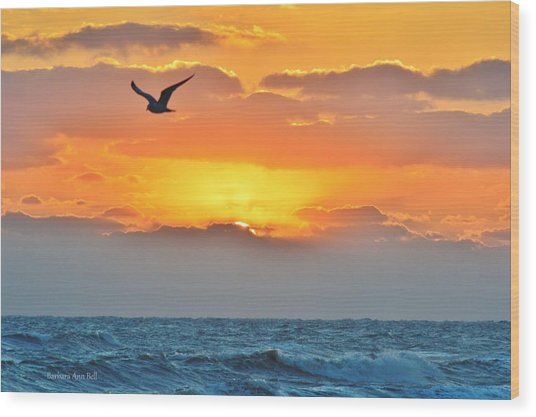 Sunrise In Nags Head Wood Print
