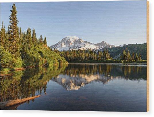 The Bench Lake Wood Print