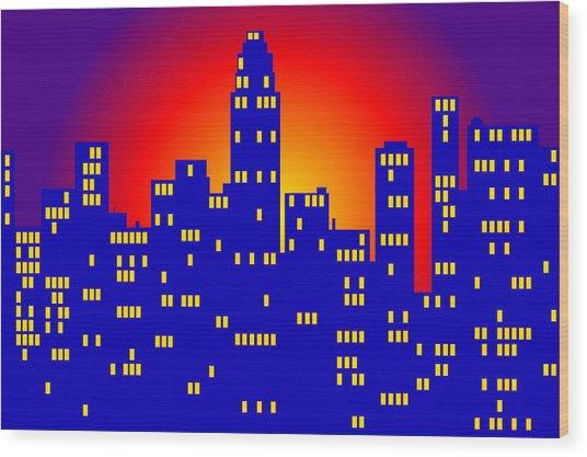 Sunrise In The City Wood Print