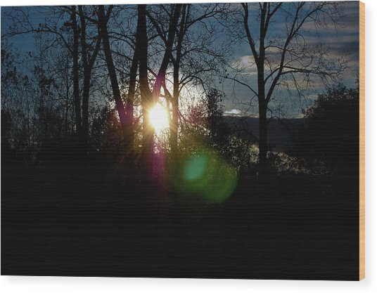 Sunrise In The Fall Wood Print by RonSher Brooks