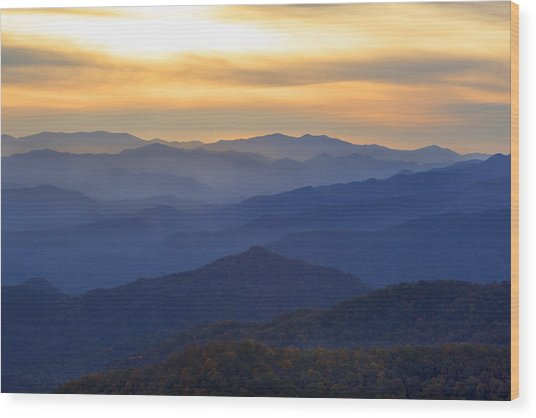 Sunrise In The Smokies Wood Print