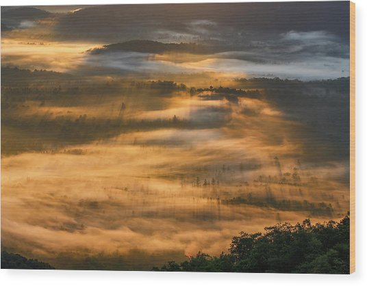 Sunrise In The Valley Wood Print