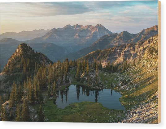 Sunrise In The Wasatch Wood Print