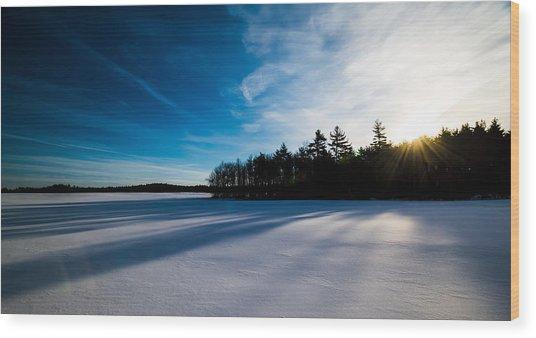 Sunrise In Winter Wood Print