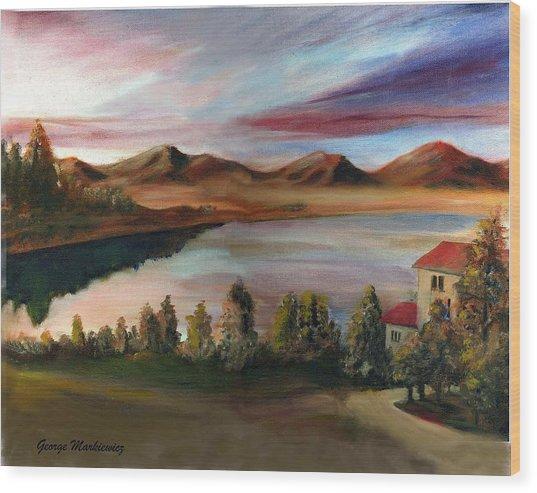 Sunrise Lake Wood Print by George Markiewicz