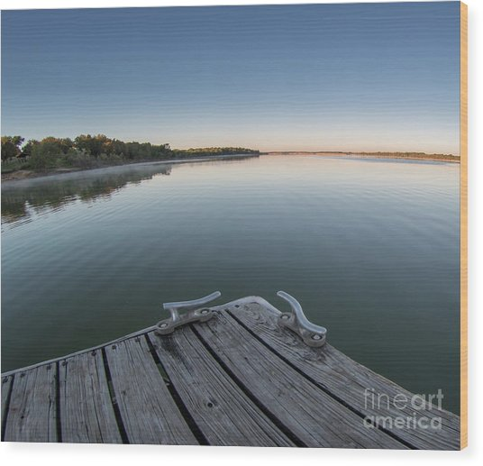 Sunrise On A Clear Morning Over Large Lake With Fog On Top, From Wood Print