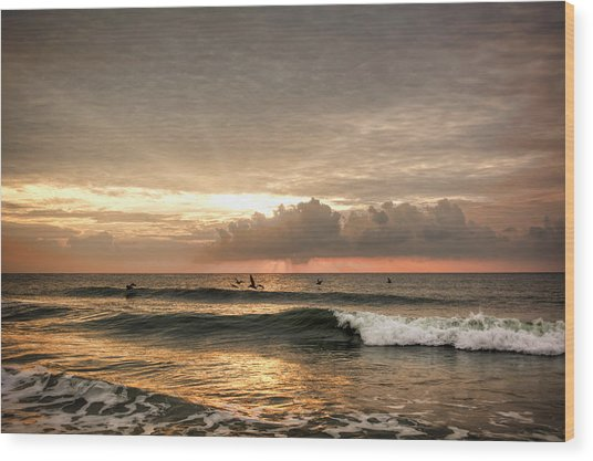 Sunrise On Carolina Beach North Carolina Wood Print