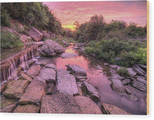 Sunrise On Deep Creek Wood Print by JC Findley