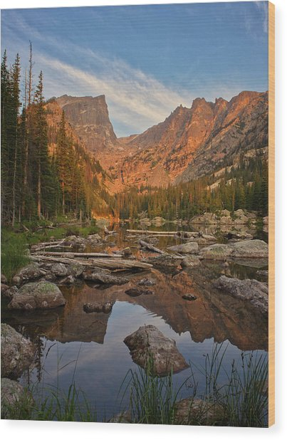 Sunrise On Dream Lake Wood Print