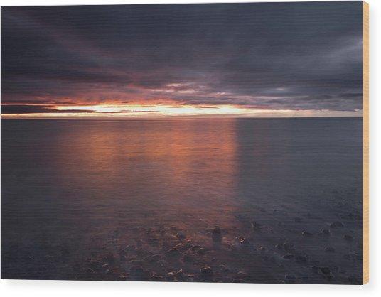 Sunrise On Killiney Beach Wood Print