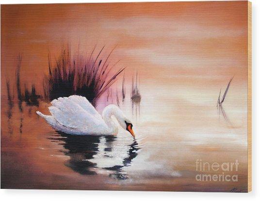 Sunrise On Swan Lake Wood Print