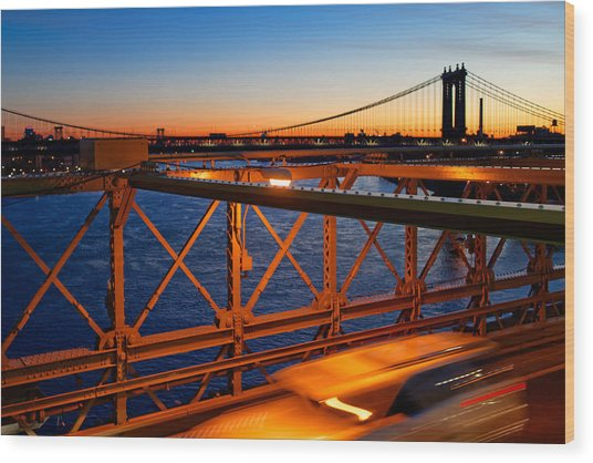 Sunrise On The Brooklyn Bridge Wood Print