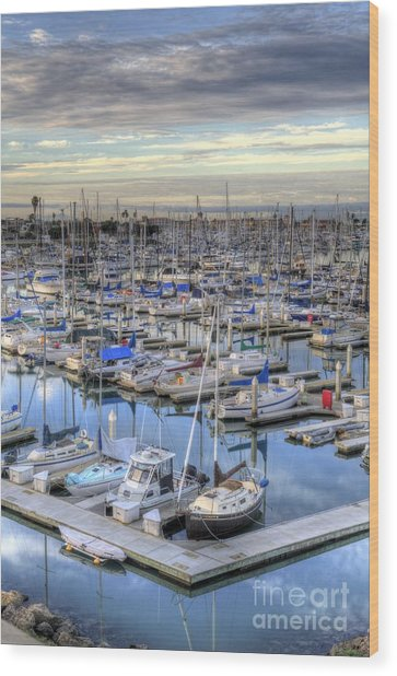 Sunrise On The Harbor Wood Print
