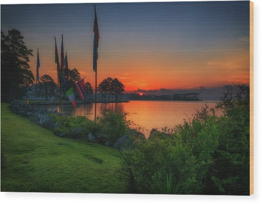 Sunrise On The Neuse 2 Wood Print
