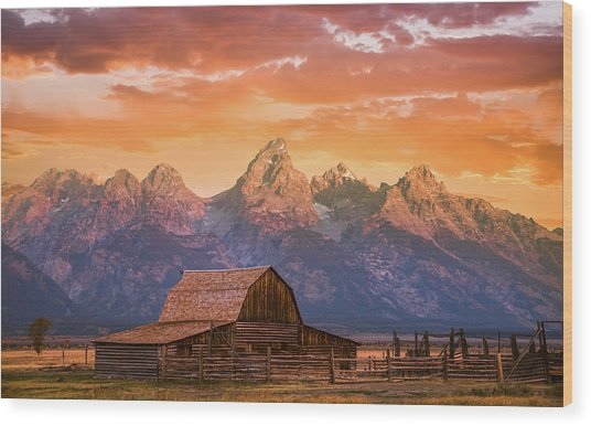 Sunrise On The Ranch Wood Print