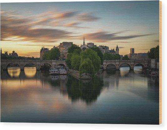 Sunrise On The Seine Wood Print