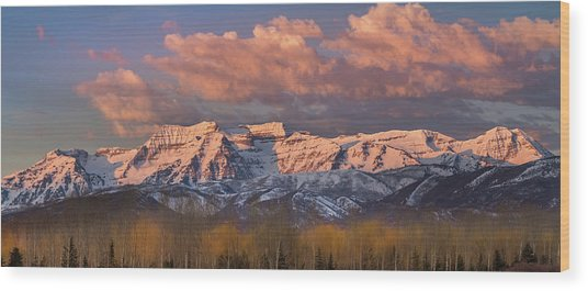 Sunrise On Timpanogos Wood Print