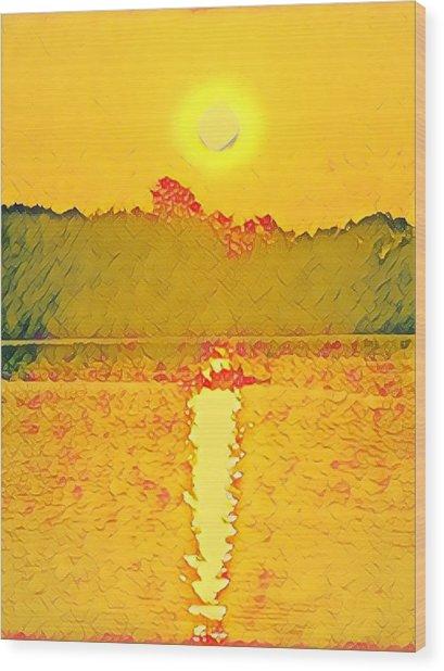 Sunrise On Town Lake Wood Print
