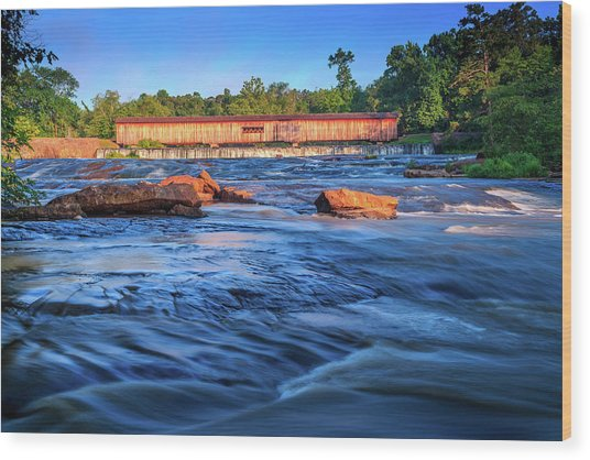 Sunrise On Watson Mill Bridge Wood Print