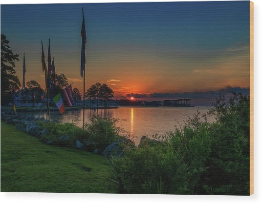 Sunrise On The Neuse 3 Wood Print