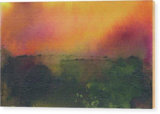 Sunrise Over A Marsh Wood Print