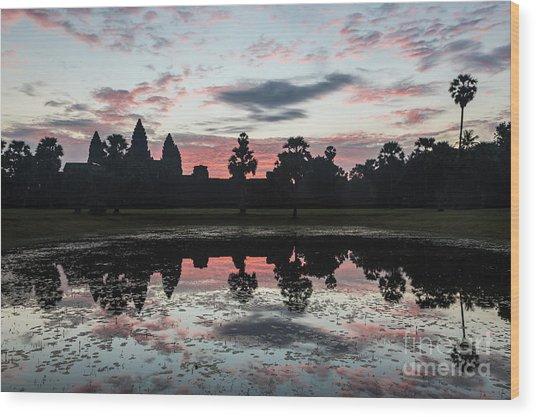 Sunrise Over Angkor Wat Wood Print