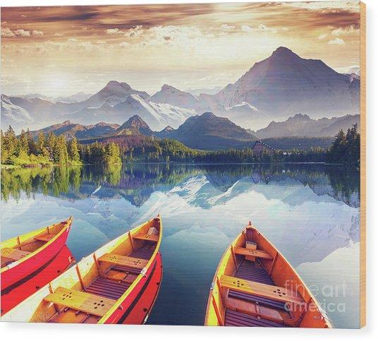 Sunrise Over Australian Lake Wood Print