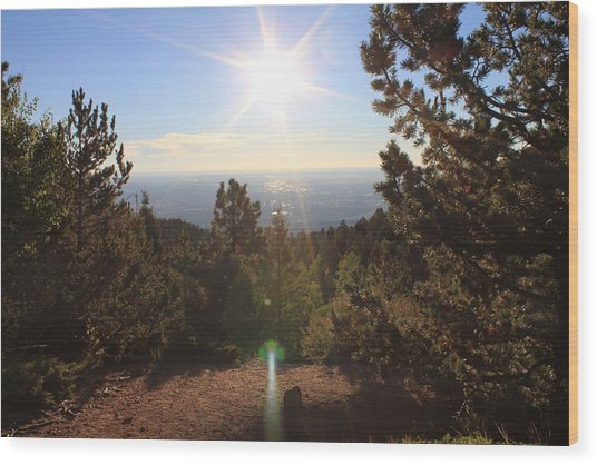 Sunrise Over Colorado Springs Wood Print
