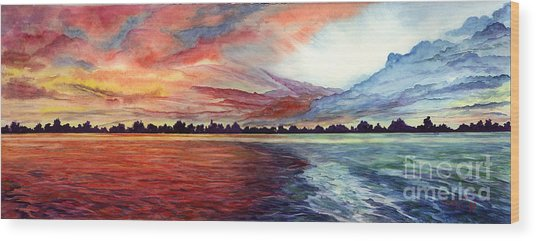 Sunrise Over Indian Lake Wood Print