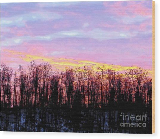 Sunrise Over Lake Wood Print