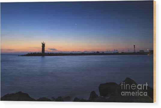 Sunrise Over Lighthouse - Beautiful Seascape Wood Print