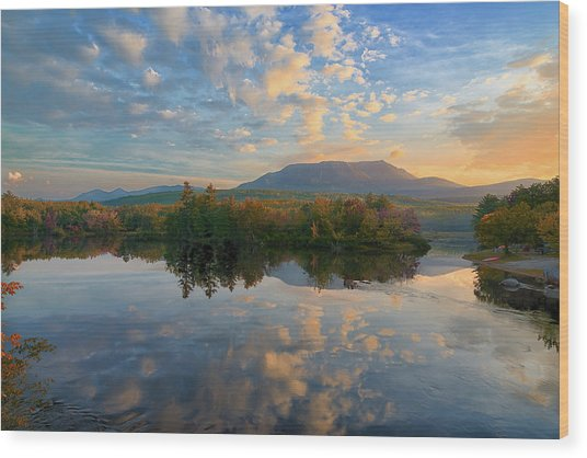 Sunrise Over Mt. Katahdin Wood Print