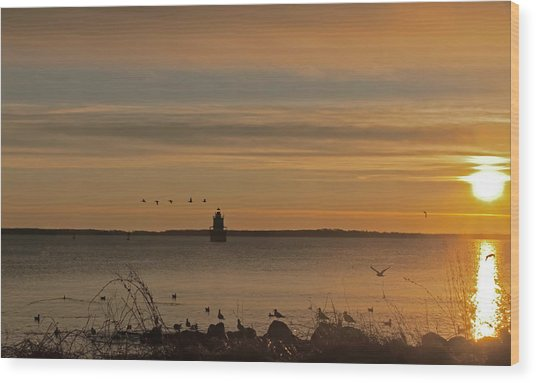 Sunrise Over New Bedford Wood Print