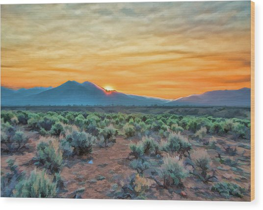 Sunrise Over Taos Wood Print