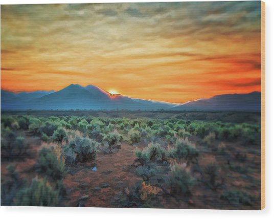Sunrise Over Taos II Wood Print