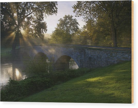 Sunrise Over The Burnside Bridge Wood Print