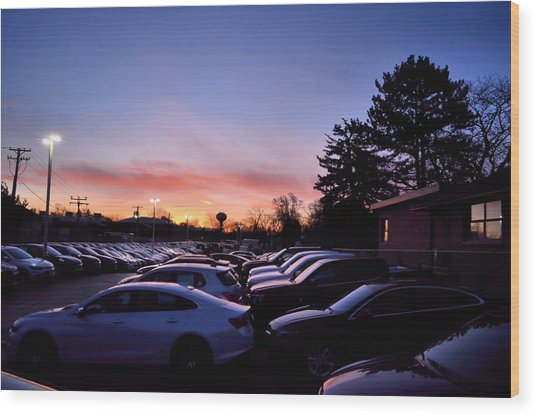 Sunrise Over The Car Lot Wood Print