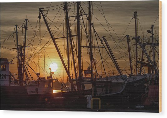 Sunrise Over The New Bedford Harbor Wood Print by John Hoey