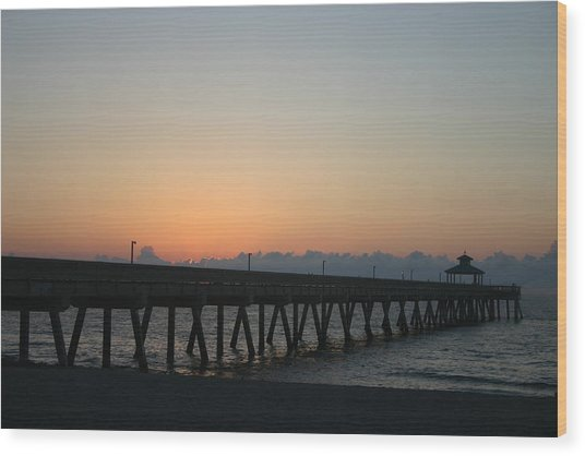 Sunrise Pier Wood Print by Dennis Curry