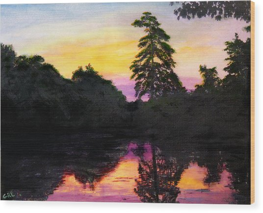 Sunrise Pond Maryland Landscape Original Fine Art Painting Wood Print